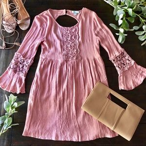 She + Sky Long Bell Sleeve Embroidered Dress
